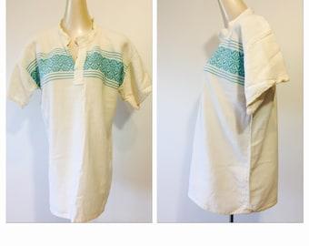 1970s Gauzy Cotton Bohemian shirt
