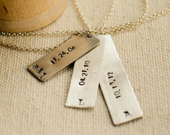 Family necklace for women, personalized, hand stamped, birthdate necklace, name necklace, personalized jewelry, birthdate, pommier-benoit