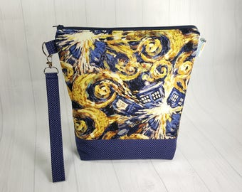 Exploding Tardis Doctor Who, Medium Knitting Project Bag, Medium Zippered Wedge Bag, Zipper Bag, Shawl Project Bag WM0018