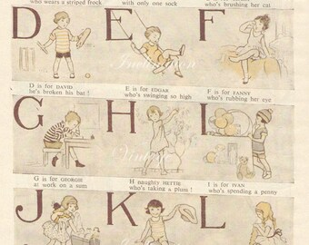 1920 Delightful Nursery ALPHABET Book Plate ABC chart