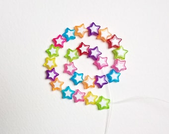 set of 25 9mm multicolor acrylic star beads