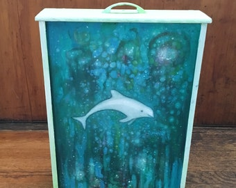 painting with a porpoise ORIGINAL painting on wooden drawer
