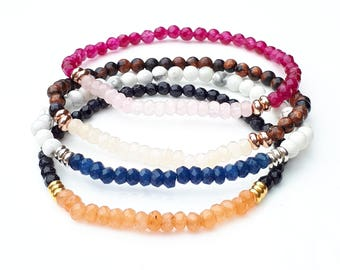 NEW Beautiful Delicate Skinny Semi Precious Faceted Gemstone Bracelets in Four Fabulous Colour Combinations,Skinny,Delicate,Gemstone