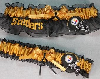 Pittsburgh Steelers Handmade NFL Football Wedding Garter Set - Black