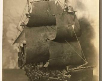"Vintage Photo ""Mini Ship of Dreams"" Snapshot Antique Black & White Photograph Paper Found Ephemera Vernacular Interior Design Mood - 11"