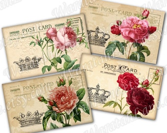 Printable Postcards Shabby Roses Pierre Joseph Redoute Set of 4 Digital Instant Download floral chic