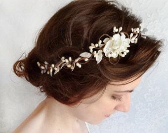 bridal headband, white bridal headpiece, white flower crown, ivory hair piece, floral headband, wedding headpiece, floral hair accessory #31