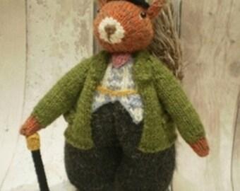 Pdf Knitting Pattern for Mr Squirrel toy by Angela Turner