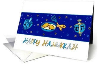Hanukkah|  Greeting Carda  Dreidel And Latkes | set of 10 Hanukkah cards, choice of three (pack of 10)