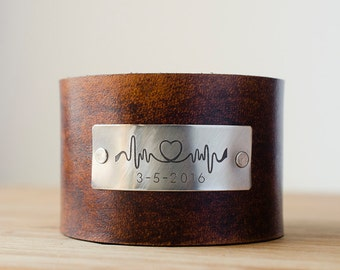 Heartbeat Lifeline Cuff with Custom Date on Wide Distressed Leather Cuff