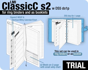 Trial [PERSONAL ClassicC S2 with DS5 do1p] July to September 2018   - Filofax Inserts Refills Printable Binder Planner Midori.