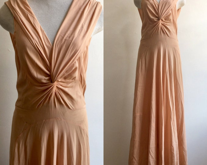 1930s Vionnet Design Bias Cut Shell Pink Gown with a Twist
