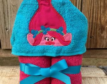 Pink Troll Hooded Towel- Princess Troll Towel- Personalized Towel - Beach Towel