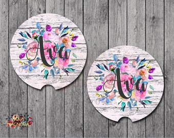 Monogrammed Floral Car Coasters - Blush Weathered Wood - Personalized Car Coasters - Shabby Chic - Car Accessory - Monogrammed