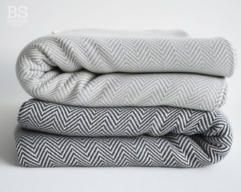 SALE 30 OFF/ Herringbone Blanket / Gray / Twin XL / Bedcover, Beach blanket, Sofa throw, Traditional, Tablecloth
