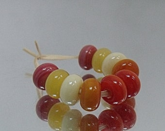 Autumn Pairs, Lampwork Spacer Beads, SRA, UK