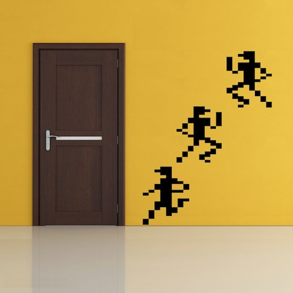 Pixel art 8-bit sprites runners vinyl wall decal retro decor