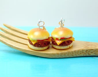 Cheeseburger Earrings // Burger Earrings // Food Jewelry // MADE TO ORDER
