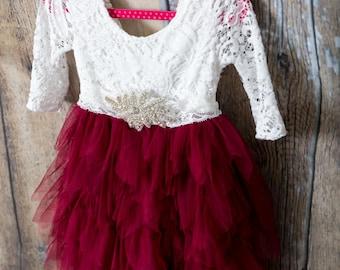 White Lace Flower Girl Dress, Burgundy Tulle Long Sleeve Wedding dress, Tea Length, Maroon Wedding, Tutu, Boho Chic,  Rhinestone Belt