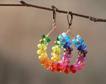 Rainbow earrings, Chakra earrings, Colorful earrings, Rainwbow hoop earrings, Colorful boho earrings, Vibrant earrings