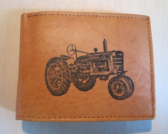 """Mankind Wallets Men's Leather RFID Blocking Billfold w/ """"IH Farmall Tractor"""" Image~Makes a Great Gift!"""
