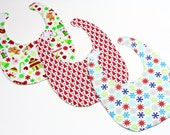Handmade Gift Pack of Bibs Featuring Holiday Fabrics