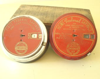 1950s advertising bank, choose 1 Add Bank, Home Federal Savings Chicago or First Federal Savings Detroit, red coin bank, advertising premium