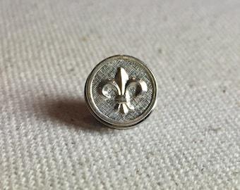 Fleur de Lis Silver Petite Fleur Tie Tack or Lapel Pin in Bright Finish