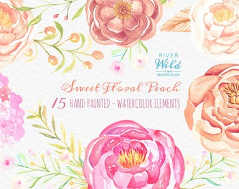 Watercolor Peonies Clipart Pack, Pink and Peach Floral Commercial Use Clipart Set Watercolor Flowers DIY Invite Wedding Clipart Laurels