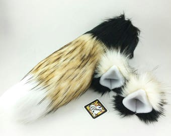 Calico Cat Ears And Tail-Cat Costume-Cat Ears- Cat Tail-Halloween-Cosplay-Anime-Fluffy Cat Ears-Cat Birthday Party