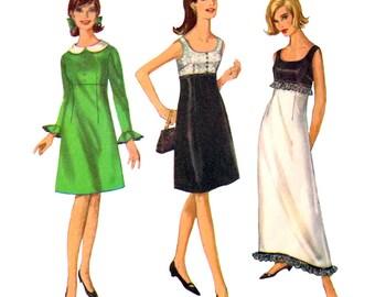 1960er Jahre Vintage Nähen Muster Empire Kleid Einfachheit 6216 Maxi Kleid Rüschen & abnehmbare Kragen adrette Kleid Junior Größe 9 oder 11 ungeschnitten