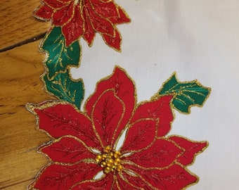 Outstandingly Beautiful Poinsettia Table Runner with Rhinestones