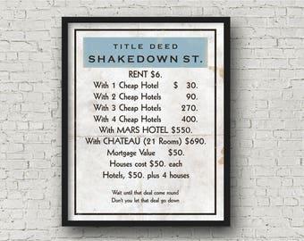 Grateful Dead Inspired Poster Print   Monopoly Card   11X14   Shakedown Street