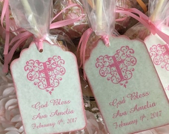 Baptism Favor Tags For Girls,  First Holy Communion Favor Tags, Pink Christening Tags, Baby Girl Pink Cross Tags - Vintage Style Set Of 20