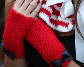 Fingerless Gloves in Cherry Red by Mademoiselle Mermaid