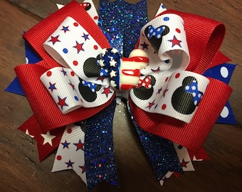Minnie Mouse Hair Bow Red white and Blue Micky Mouse Hair Bow Toddler 4th of July Hair Bow Patriotic Hair Bow