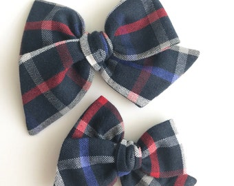 Patriotic plaid hand tied bow • large or medium • headband or hair clip