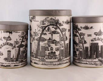 New Vintage 1987 Old Stock Three (3) Round St. Louis Nested Tins Designed By Bob Price Holloway (Tins Only)