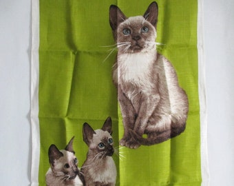 Irish Linen Tea Towel Siamese Cat Kittens Yarn Balls Chartreuse Ulster 1970's Novelty Never Used