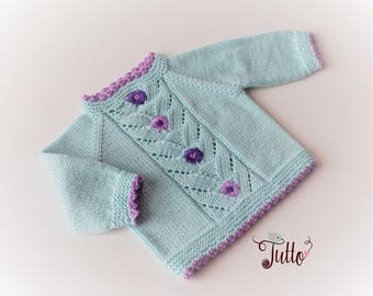 Mint green sweater baby girl sweater lace sweater wool sweater baby girl sweater handknit sweater MADE TO ORDER