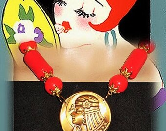 Necklace art deco, art nouveau, red and gold necklace - the Egyptian
