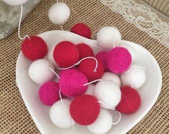 Valentine Garland, Felt Ball Garland - Pom Pom Garland, Red, White, Hot Pink Felt Balls, Love, Sweetheart, Party, Decoration, Garland