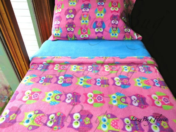 Childrens Bedding Set 'Pink Owls' For Girls Handmade