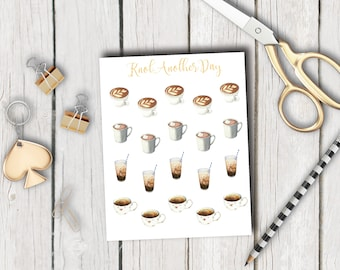 Coffee, latte, cappuccino, ice coffee, hot chocolate & tea stickers for all planners | by KnotAnotherDay