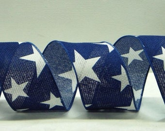 2.5 inch Wired Patriotic Ribbon ~  Blue Ribbon Large White Stars ~ July 4th Craft Ribbon ~ American Flag Ribbon ~ For Wreaths ~ 3 Yards