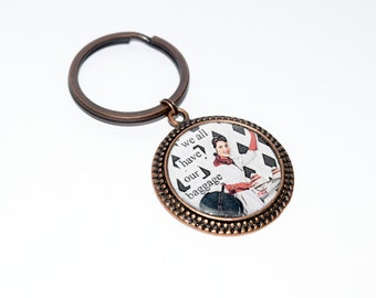 Vintage Copper Retro Humor 'We All Have Our Baggage' Keyring