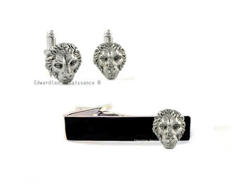 Lion Head Cuff Links and Tie Clip Set Antique Sterling Silver Neo Victorian Leo Vintage Inspired with Set Options
