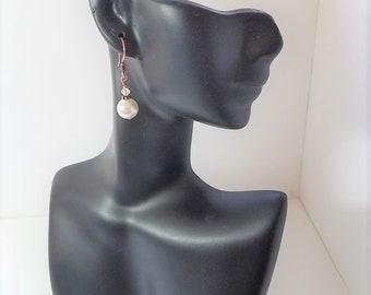 Earrings White Glass Pearls & Copper