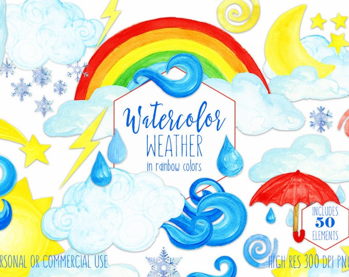 WATERCOLOR WEATHER Clipart for Commercial Use Cute Weather Clouds Rainbows Rain Drops Umbrella Wind Snowflake Moon Sun Star Weather Graphics