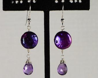 Puple Pearl Earrings Amethyst earrings